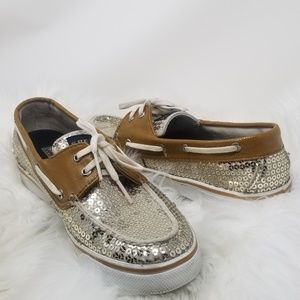 Sperry Top Sider | Bahama Silver Sequin Boat Shoes
